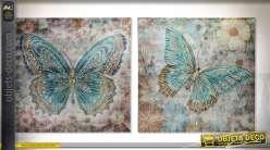 Série de 2 tableaux sur toile, papillons en perles acryliques coloris turquoise