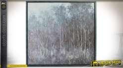 Tableau encadré peint à la main : bordure de forêt 120 x 120 cm