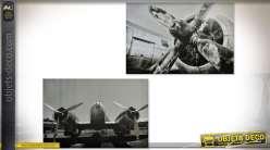 Série de 2 grands tableaux sur toile : avion et aviation en noir et blanc 120 x 80 cm