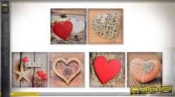 Série de 6 tableaux sur toile 40 x 40 cm sur le thème de la Saint-Valentin