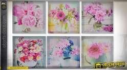 Série de 6 tableaux sur toile à motifs de bouquets de fleurs roses 28 x 28 cm