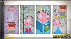 Série de 4 tableaux à motifs sur bois thème personnages de BD 40 x 20 cm