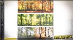 Série de trois tableaux panoramiques sur toiles 90 x 30 forêts et sous-bois