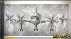 Grande peinture sur toile 200 x 100 cm, atterrissage avion de ligne à hélice
