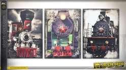 Série de 3 tableaux sur toiles 70 x 50 cm : illustrations de locomotives à vapeur