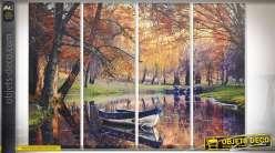 Toile en quadriptyque 90 x 30 (x4) sous-bois automnal et barque sur rivière