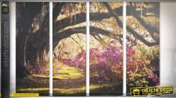 Grand tableau en quadriptyque dessous de bois fleuri 120 x 90 cm