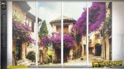 Quadriptyque 120 x 90 (x4) :  rue de village fleurie de Bougainvilliers