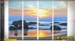 Tableau en quadriptyque bord de mer et coucher de soleil 90 x 30 (x4)