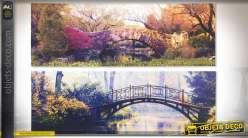 Duo de toiles sur châssis bois en 90 x 30 cm sur le thème des ponts anciens