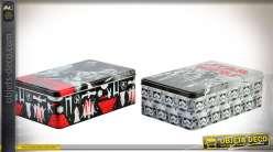Série de 2 boîtes décoratives en métal blanc illustrations thème Star Wars