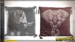 Duo de coussins décoratifs : motifs éléphants, style broderie indienne 45 x 45 cm