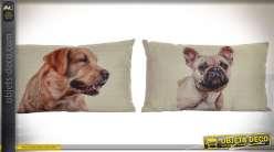 Série de 2 coussins rectangulaires 50 x 30 cm en coton et lin : thème chiens