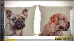 2 grands coussins en coton et lin en 50 x 50 cm avec illustrations chiens