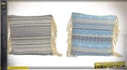 Série de deux coussins de style boho à rayures, frises et franges 43 x 43 cm