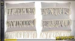 Duo de coussins style boho coloris gris clair à franges teinte coton écru 45 x 45 cm