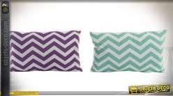 Duo de coussins décoratifs en 50 x 30 cm à motifs en chevrons, violet et vert