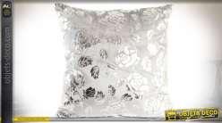 Coussin en velours blanc à motifs floraux effet métallisé argenté 45 x 45 cm