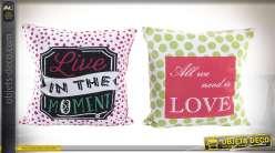 Duo de coussins décoratifs à pois et à motifs graphiques, coloris acidulés