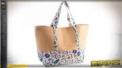 Sac de course ou sac de plage en osier tressé coloris naturel et tissu à fleurs