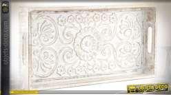 Plateau de service bois sculpté motifs mandala et fleurs patine blanche 50 cm