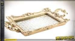 Plateau précieux finition dorée de style romantique et baroque 45 x 25 cm