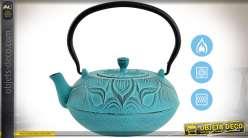 Théière chinoise rétro en fonte, coloris turquoise vieilli