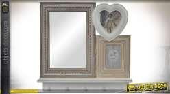Miroir décoratif mural avec porte-photos et crochets de suspension bois vieilli