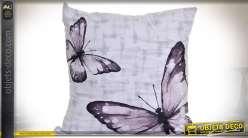 Coussin d'ornement 45 x 45 cm livré comlet illustrations de papillons