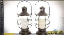 Duo de lanternes façon lampes tempêtes avec bougies LED 28 cm
