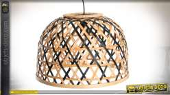 Suspension en bambou de style exotique, finition bambou naturel et noir Ø 40 cm