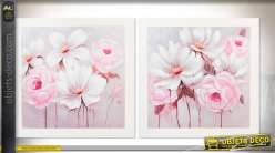 Duo de grands tableaux sur toile 100 x 100 grandes fleurs blanches et roses