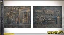 Duo de plaques murales en bois sculpté à motifs rétro noir et or 80 x 60 cm