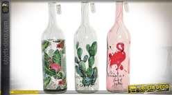 Série de 3 bouteilles luminaires d'ambiances : feuillages, cactus, flamand rose