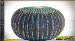 Coussin de sol en tissu en forme de cactus effet 3D en trompe-l'oeil Ø 50 cm