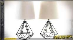 Duo de lampes en métal stucture filaire en forme de diamants style design 43,5 cm