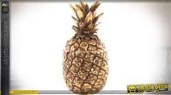 Objet déco en résine : ananas aspect métal doré vieilli 20 cm