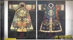 Duo de tableaux sur toiles représentation artistique de kimonos orientaux 70 cm