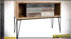 Commode de style industriel en bois et métal sur piètement métal 116 cm