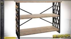 Console en bois et métal de style industriel à 3 plateaux 120 cm