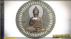 Décoration miroir orientale avec statuette de bouddha et miroir multifacettes