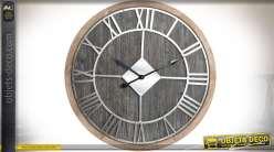 Horloge en bois et métal de style rétro et industriel Ø 70 cm
