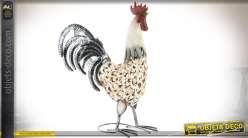 Coq décoratif en métal, coloris blanc et argent 46 cm