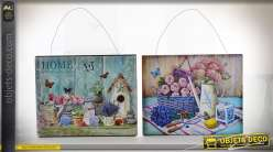 Plaques décoratives murales à suspendre esprit vintage thème lavande 25 x 20 cm