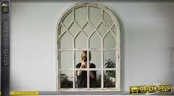 Miroir fenêtre en arcade style rétro 80 cm