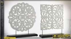 Set de2 décorations en bois sculpté blanc sur socle bois et métal noir 49,5 cm