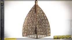 Suspenstion de style oriental en pyramide à angles galbés et métal cuivré 32,5 cm