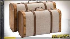 Set de 2 valises décoratives et de rangement en bois ciré et toile écrue 60 x 38 cm