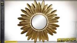 Grand miroir en métal avec encadrement effet plumes d'oiseaux dorées Ø 95 cm