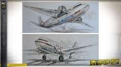 Duo de tableaux sur toiles illustation anciens avions civils à hélices 150 x 60 cm